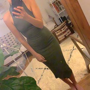 AZALEA green ribbed midi tank dress